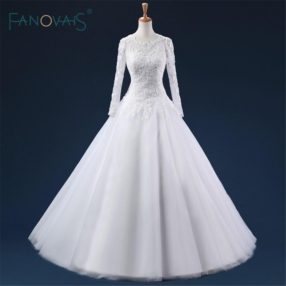 vestido de noiva sereia Full Sleeves V Back Custom Made Muslim Wedding Dresses Long White/Ivory Satin Wedding Dresses ASAW92