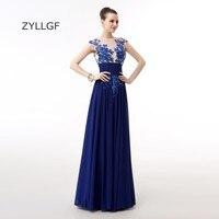 ZYLLGF Royal Blue Plus Size Bridesmaid Dresses Sheath Appliques Chiffon Formal Women Party Dress Keyhole Back With Beadings Q146