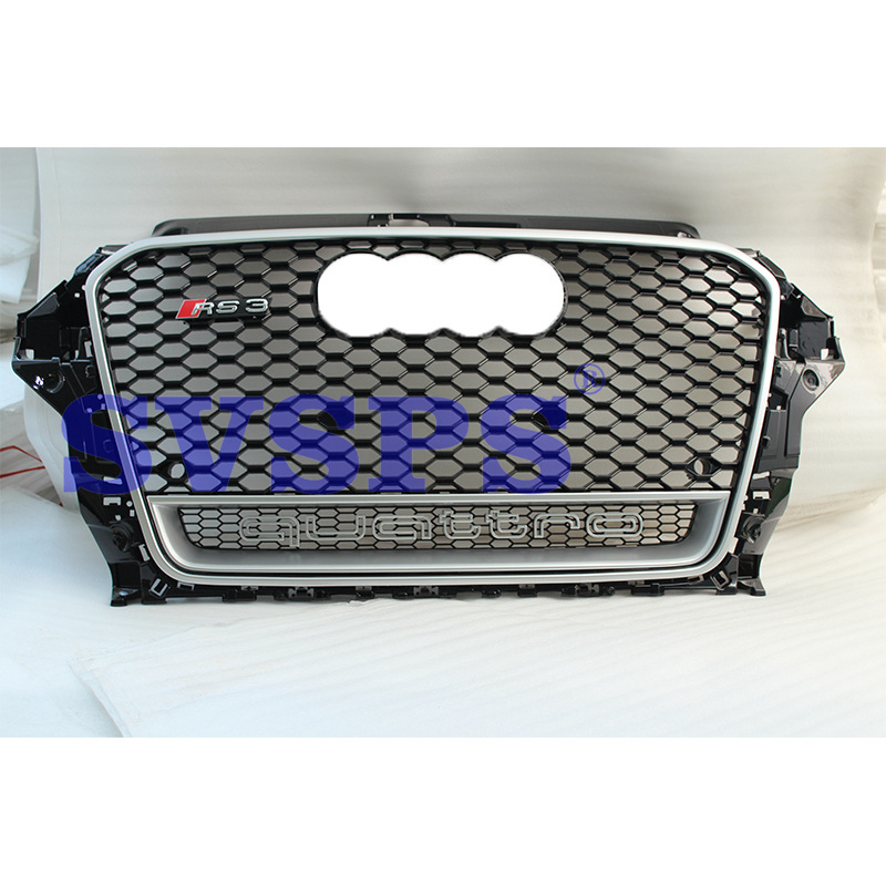 High Quality ABS Front Middle Grille RS3 Style Black Honeycomb For Audi A3 S3 2014-2016 brand new a3 rs3 abs oem style auto car front bumper mesh grills with camera hole for audi fit for a3 rs3 2013 2014