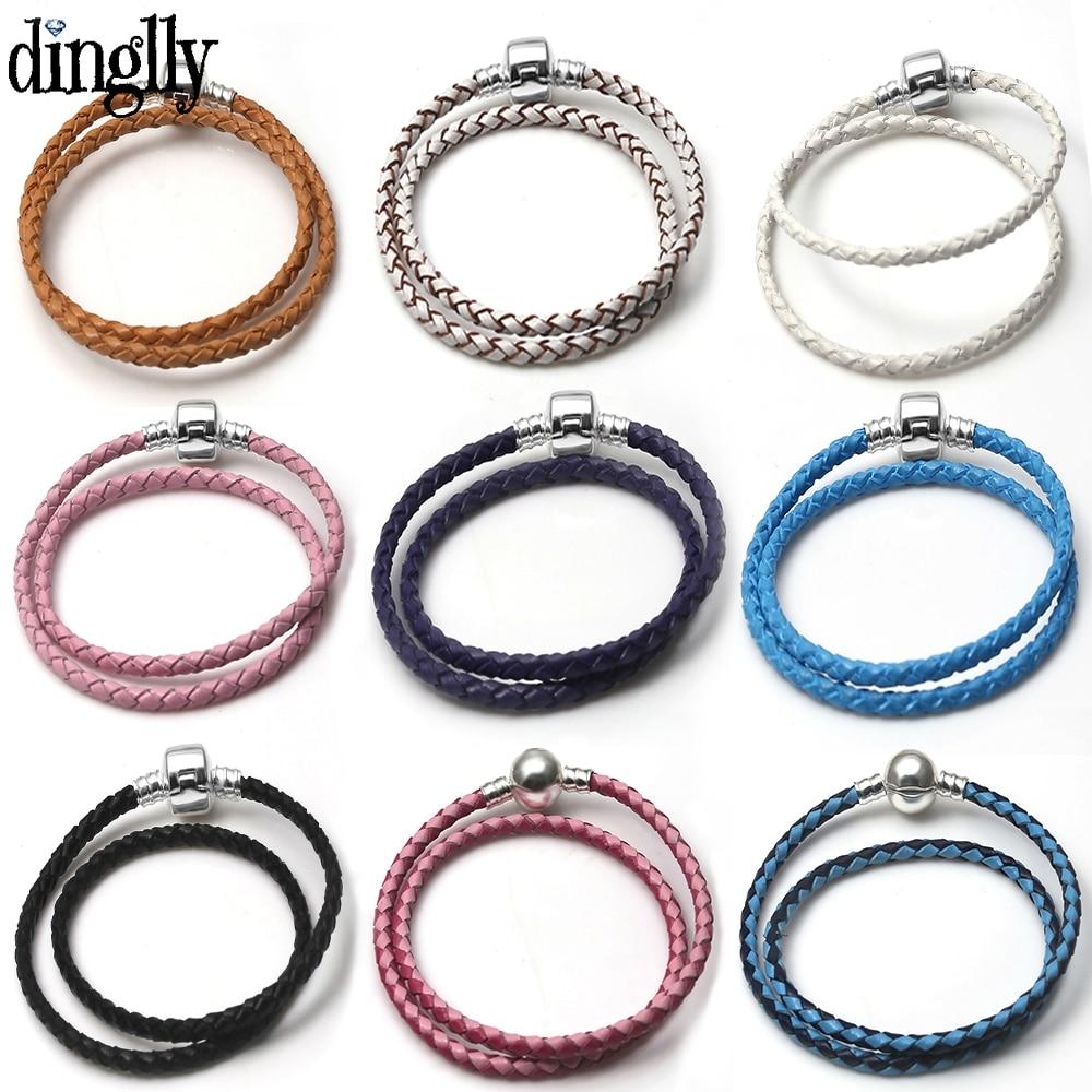 DINGLLY Color long Woven Leather Bracelets Fit Women Men Original Quality Color buckle Charm Bracelet Bangle Accessories(China)