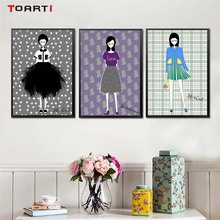 Fashion Girl Wall Art Canvas Painting Beauty Dress Up Posters And Prints Pictures For Kids Room Home Decoration No frame