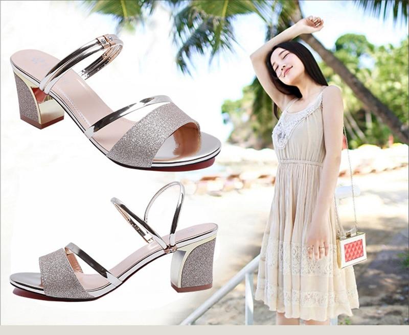 HTB1MUWlaorrK1RkSne1q6ArVVXaQ High Heel Sandals Women Shoes Peep toe Square Heels Ladies Sandals 2019 Summer Shoes Woman Fashion Heel 6cm A645