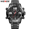 WEIDE Luxury All Black Stainless Steel Watch Men Dual Time Zone Analog Digital Display Water Resistant Alarm Auto Date Watches