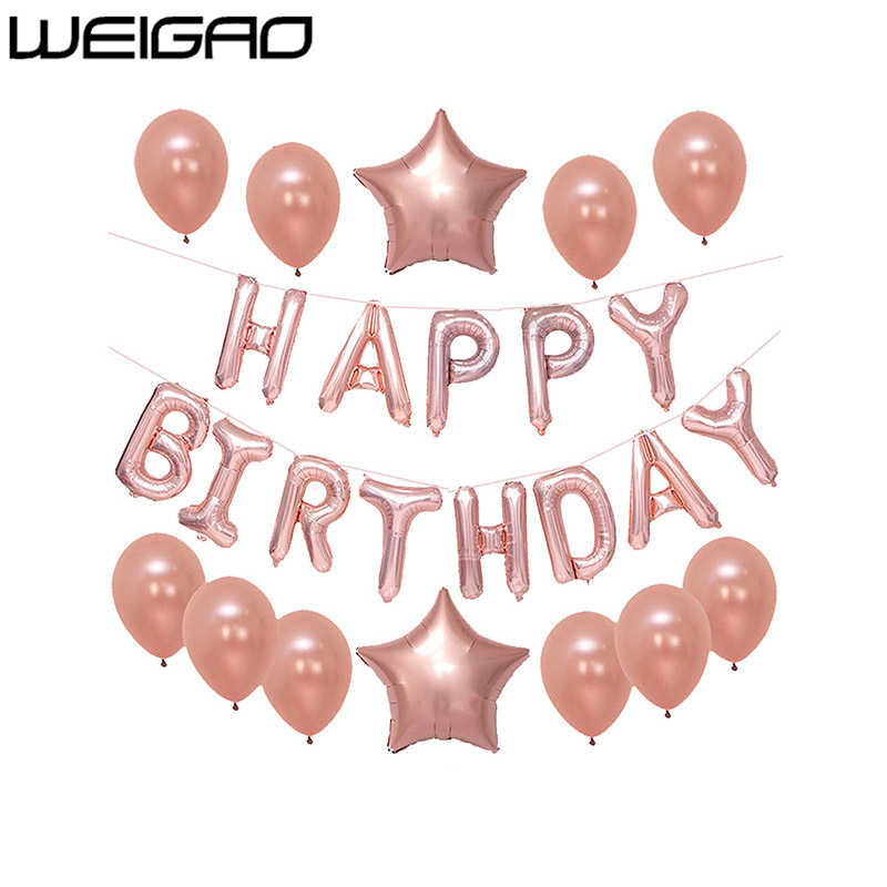 WEIGAO Rose Gold Happy Birthday Balloons Champagne Wedding Decoration LOVE Baloons Heart Shaped Valentines Day Air