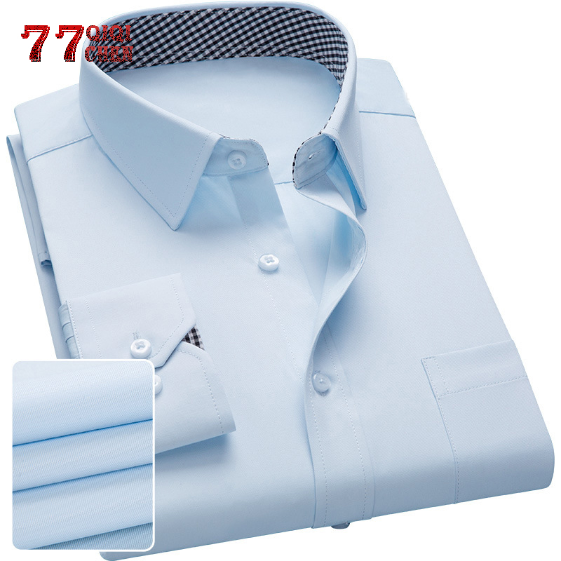 Brand Men Dress Shirt 2019 Long Sleeve Casual Slim Fit Man Shirts High Quality Solid Business Shirt Male Chemise Homme