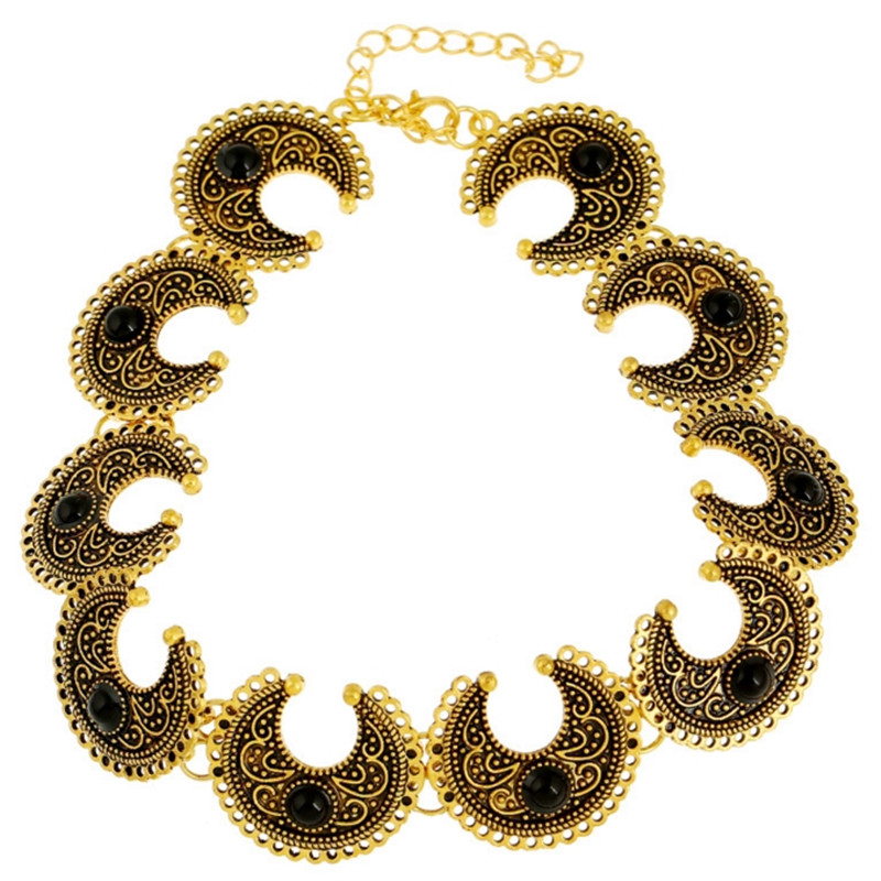 Bohemia Ancient Moon Silver Golden Necklace Horn Choker Women Jewelry Accessories 2993