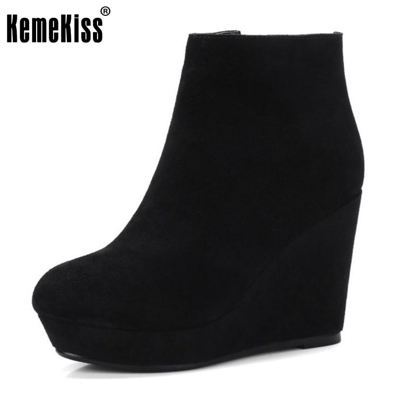 KemeKiss Women Genuine Leather Wedges Snow Boots Cross Strap Winter Shoes Women Warm Short Botas For Women Footwears Size 34-39