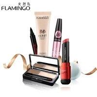 Free Shipping Beauty Makeup Set Flamingo Brand 4 PCS Basic Makeup Set Including Eyebrow Powder Cake