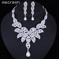Mecresh Crystal Leaf Bruiloft Sieraden Sets Afrikaanse Sieraden Set Zilver Kleur Ketting en Oorbellen voor Vrouwen Gratis Verzending TL010