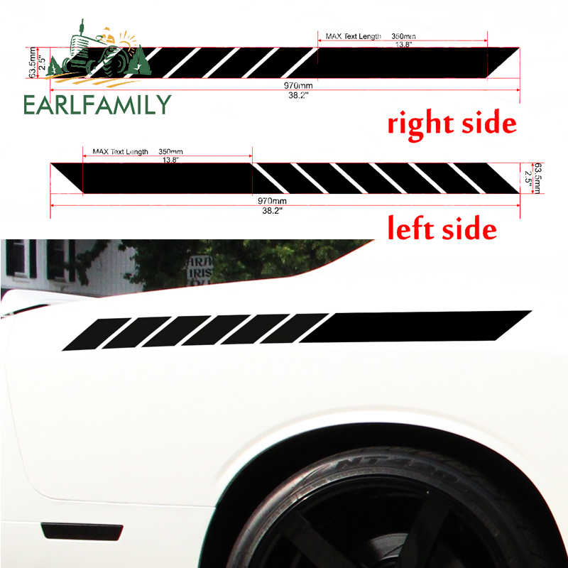 EARLFAMILY 97cm X 6.35cm 2x (one for Each Side) Car Sticker Body Stripes Racing Race Rally JDM Car Styling Vinyl Decal