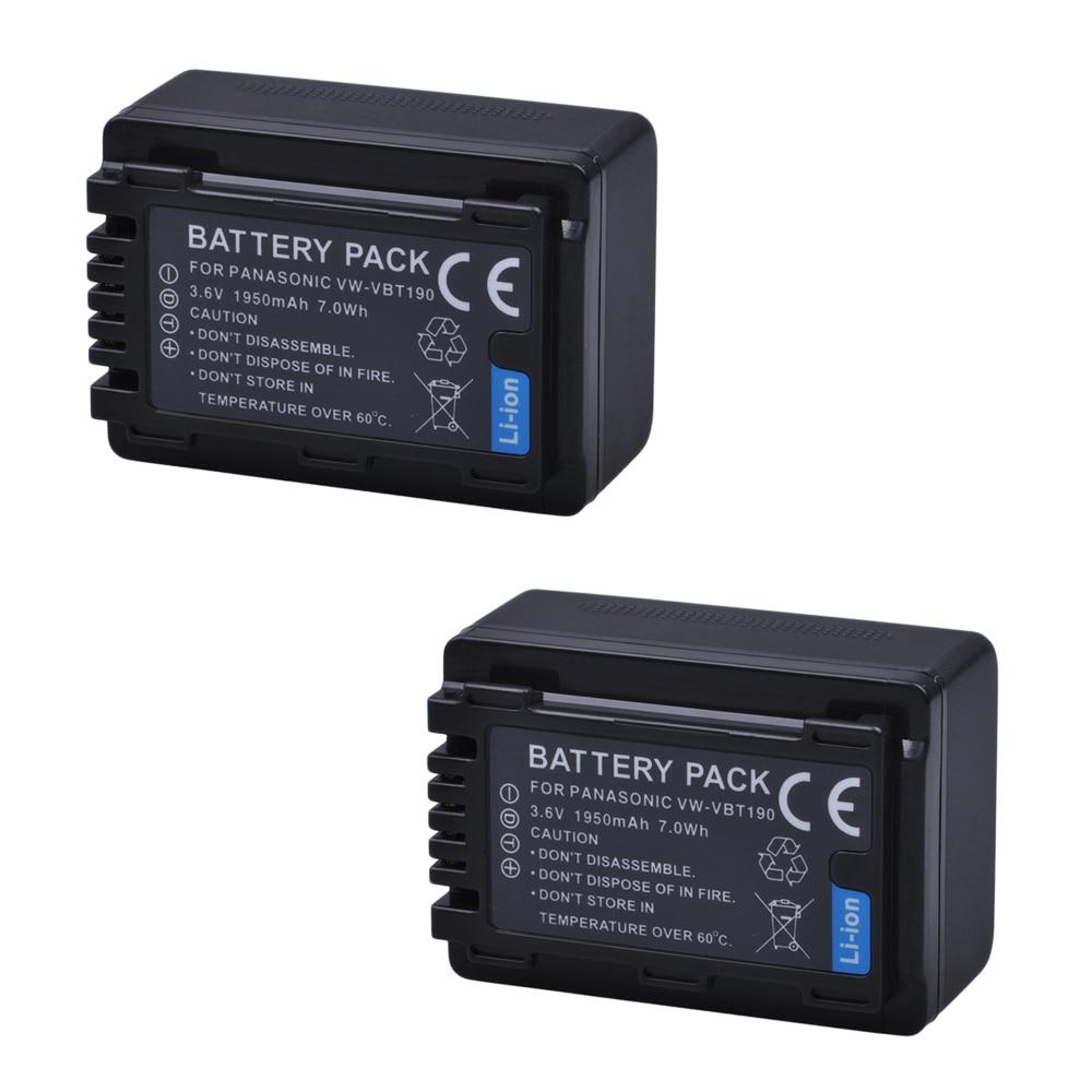 2Pcs VW-VBT380 VBT380 VW-VBT19 VBT190 Battery 1950mAh for Panasonic HC-V270, HC-V380, HC-V510, HC-V520, HC-V550, HC-V700, HC-V71 цены онлайн
