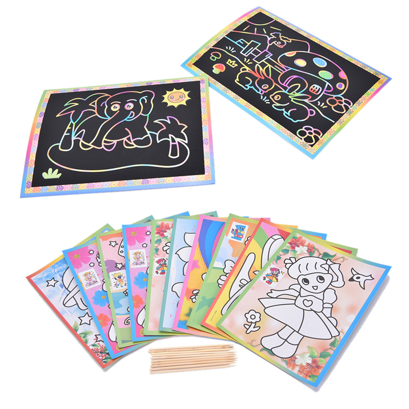 Notebooks & Writing Pads Notebooks Cheap Sale Colorful Magic Scratch Drawing Art Painting Paper Notebook Kids Children Educational Learning Stick Toys 12.7cm X 17.2cm At All Costs
