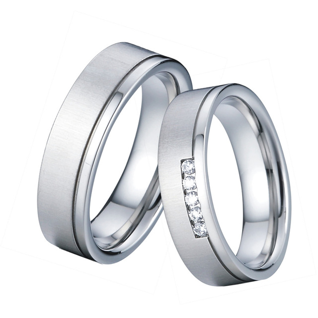Unique Anniversary Wedding Band Engagement Rings Men Jewelry Silver White Gold Color Alliances Couple Rings for Women