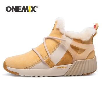 Onemix Women Sneakers Winter Boots Suede Leather Hairy Boots Outdoor Warm Woman Running Shoes Waterproof Walking Sneaker Boots 1