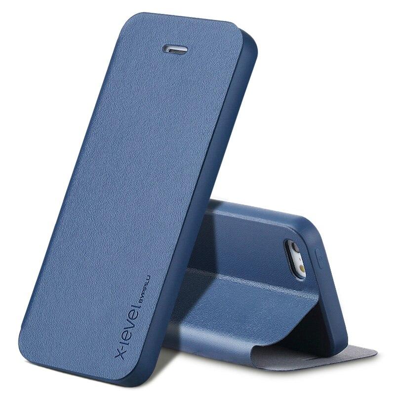 imágenes para Para el iphone Caso SO iPhone 5S Lujo Flip Ultra Thin Cuero de LA PU + Libro de Estilo TPU Caso Capa Para iPhone 5 5S 5SE Cubiertas Del Teléfono Azul