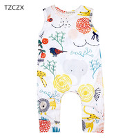 TZCZX 2919 New Summer Children Baby Girls Rompers Lovely Printed Sleeveless Jumpsuit For 6 To 18