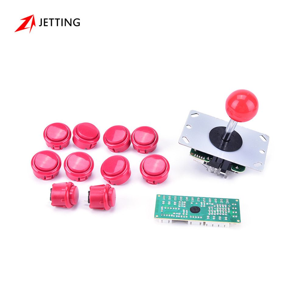Mango Arcade Kits Set 24mm/30mm Botones Joystick de 5 Pines piezas de Repuesto Cable USB Tarjeta de Encoder para PC Palanca de Mando y Botón