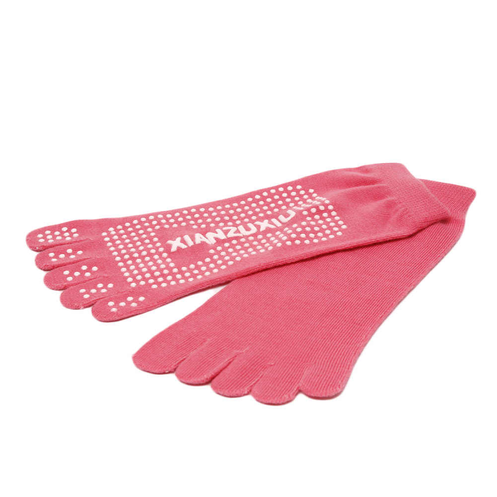 Sweet Women Toe Socks Acrylic Non-Slip Pilates Girl Ladies Socks 5 Toe Exercise Massage Purple Pink Black Yellow