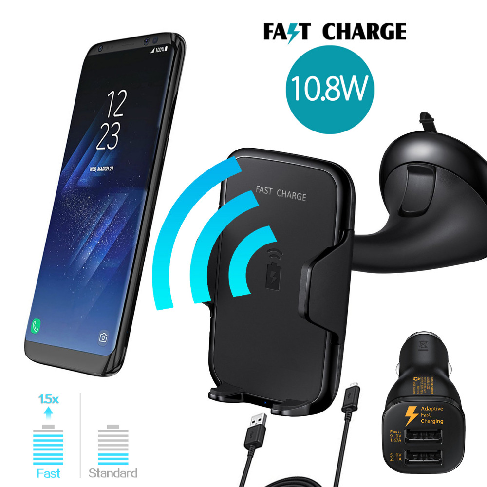 Qi Wireless <font><b>Car</b></font> Charger For Samsung Galaxy S8/S8+/S7 EDGE/NOTE5/S6 EDGE+ for <font><b>iPhone</b></font> 8 x <font><b>Phone</b></font> Mount <font><b>car</b></font> <font><b>Holder</b></font> Fast Qi Charger
