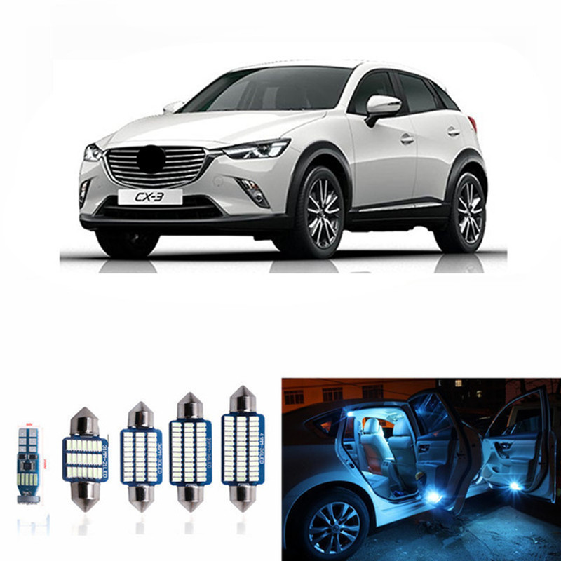6pcs Error Free White Interior LED Light Package Kit For Mazda Cx-3 Cx3 Accessories Reading Indoor Lights Ice Blue 12v
