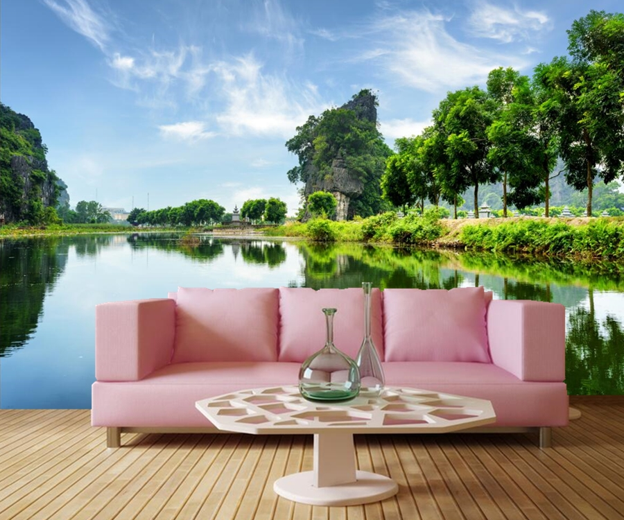 Custom mural,Papel de parede Summer Lake Sky Crag Trees Nature wallpapers,bar living room tv wall kitchen bedroom 3d wallpaper