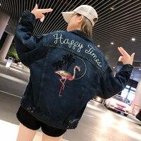 Harajuku jacket women Bomber jacket Loose BF Style Coat Baseball Outwear Embroidery Denim Windbreaker Mori girl Korean clothes