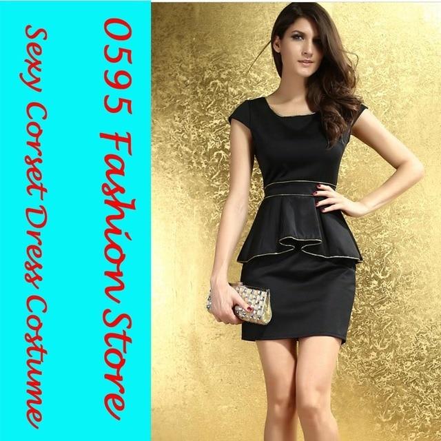 Woman Black Scoop Neck Cap Sleeve Gold Trim Peplum Dress Hl2817 In