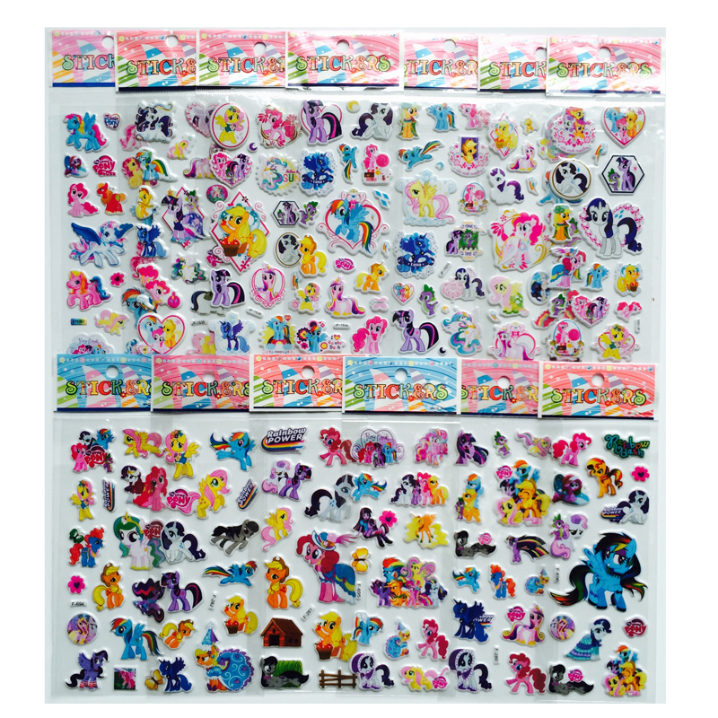 6Pcs/lot cartoon Horse Unicorn cute toys pretty Sticker 3D Puffy Animal Stickers mobile phone stickers Toys for kids