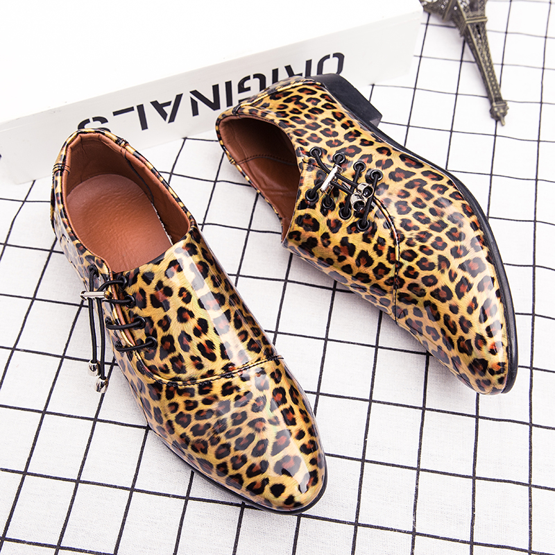 New Style Men's Elegant Ruffian Style Men's Pointed Shoes, Leopard Print Shiny Fashion Men's Shoes, Party Shoes, Performance Sho