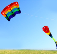 New Multi color Single Line Parafoil Kite / Soft Rainbow Kites With Flying Tools Beach kite flying