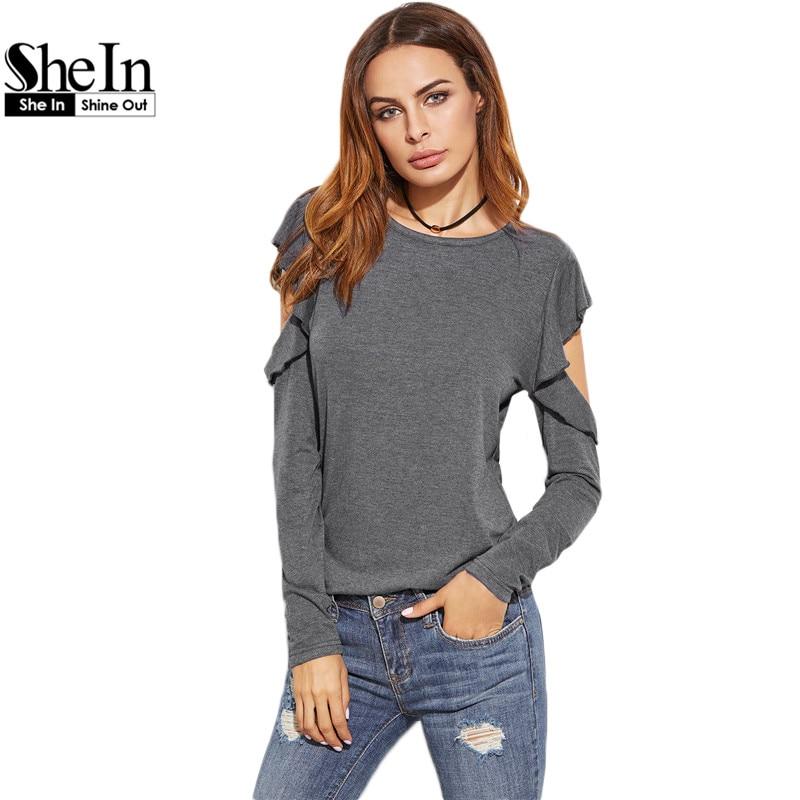 SheIn Solid O Neck Casual T-shirts Spring Autumn Women Ladies T shirt Heather Grey Ruffle Long Sleeve Open Shoulder T-shirt