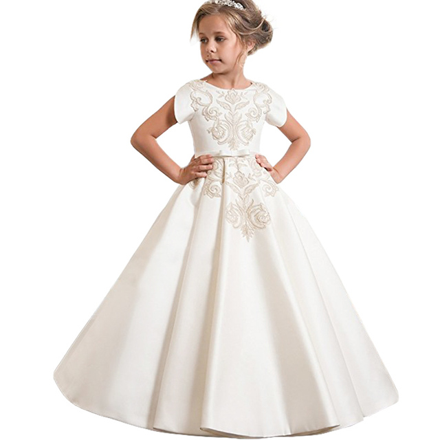 Kids Party Dresses For Girls Wedding Gown Flower Girls Dress Children  Formal Evening Dress Teenagers Clothing 6 7 8 9 10 12 Year 048b8b9f6a47