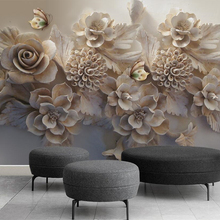 Beibehang Custom wallpaper 3d relief flower butterfly 3D