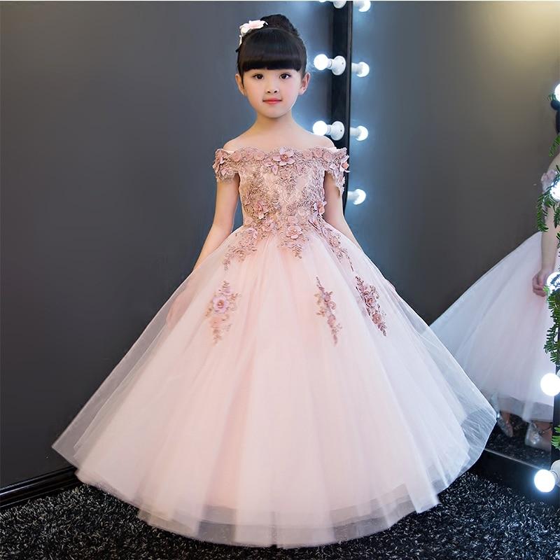 Elegant Sweet Long Beading Appliques Shoulderless Flower Girl Dress Kids Performance Show Party Birthday First Communion