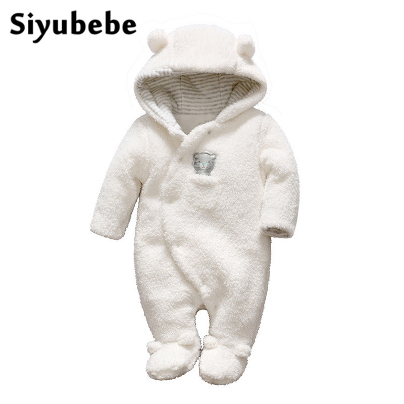 Siyubebe Newborn Baby Clothes Bear Onesie Hooded Baby Girl Boy Rompers Plush Jumpsuit Winter Overalls For Kids Roupa Menina