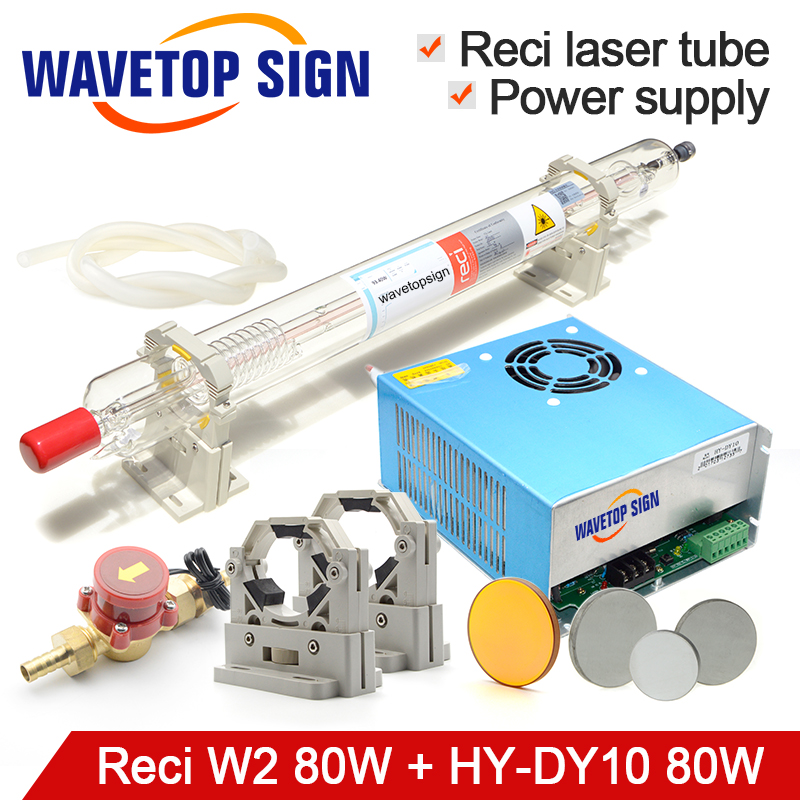 CO2 Laser Tube 80W Reci W2 + Laser Power Supply HY-DY10 80W + Tube Holder+Water Sensor+Silicon Tube+ Focus Lens + Reflect Mirror the rail of laser machine 1490 include belt bear wheel motor motor holder mirror holder tube holder laser head etc