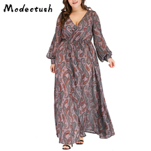 Modecrush Women Lantern Long Sleeve Maxi Dress Big Elegant Vintage V Neck Chiffon Floral Dresses Casual Boho 2019 Plus Size
