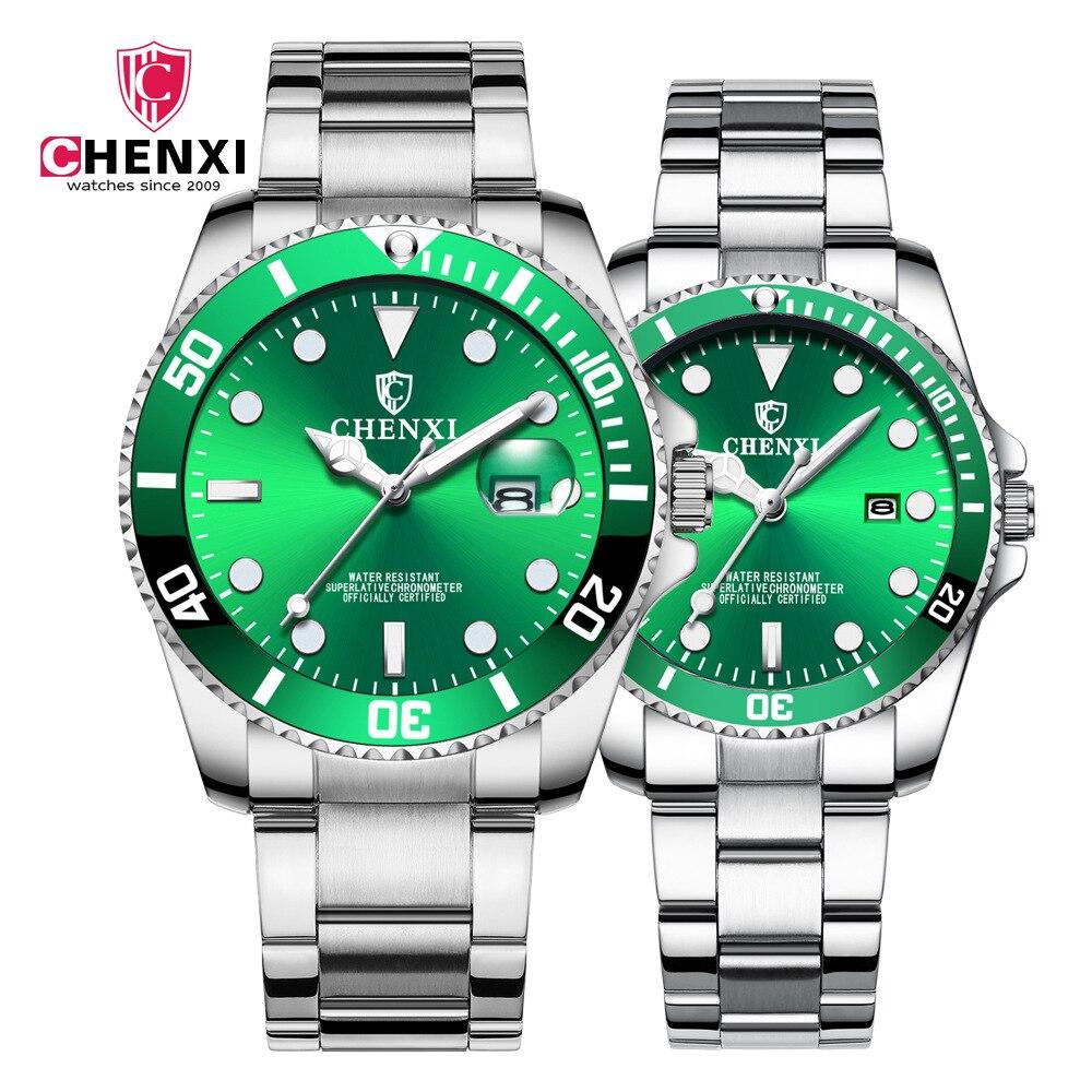 CHENXI Couples Watches Men Women Quartz Watch Clock Wristwatches Man Fashion Casual Male Female Watch With Calendar Dropshipping