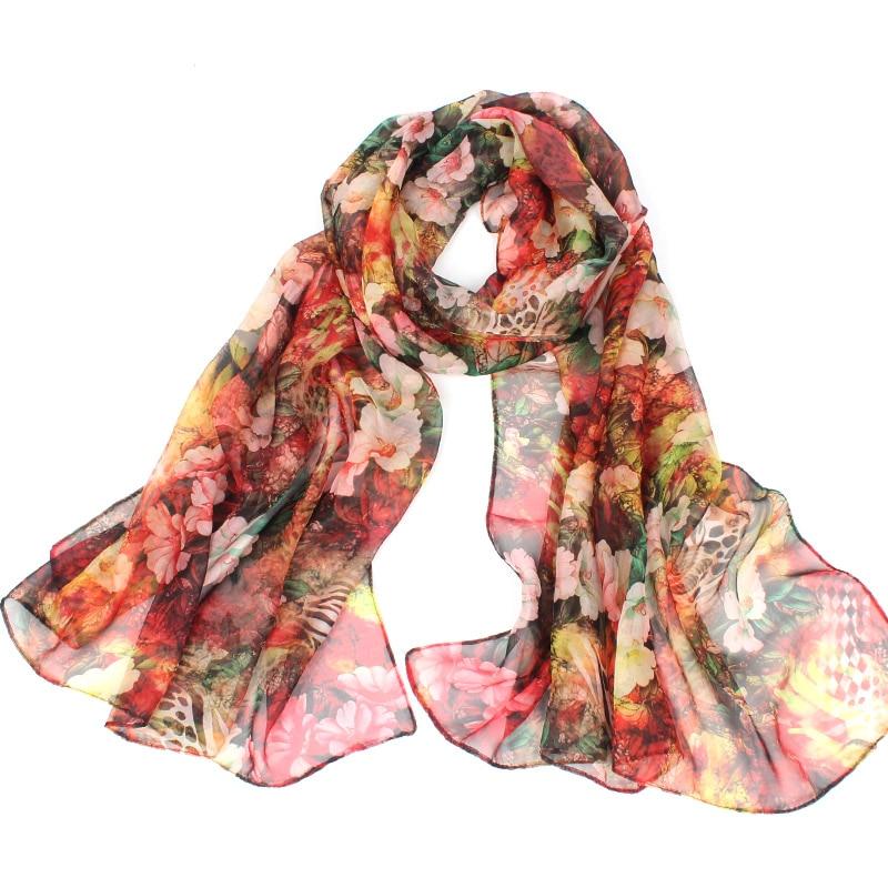 eb509fd6da5b Georgette fular mode femmes en mousseline de soie imprimé Floral Designer  dégradé écharpe à carreaux fleur Casual foulards de soie Pashmina écharpe  longue