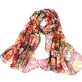 georgette fular fashion Women Chiffon Floral Printed Designer Scarf Gradient Plaid Flower Casual Silk Scarves Long Wrap Pashmina