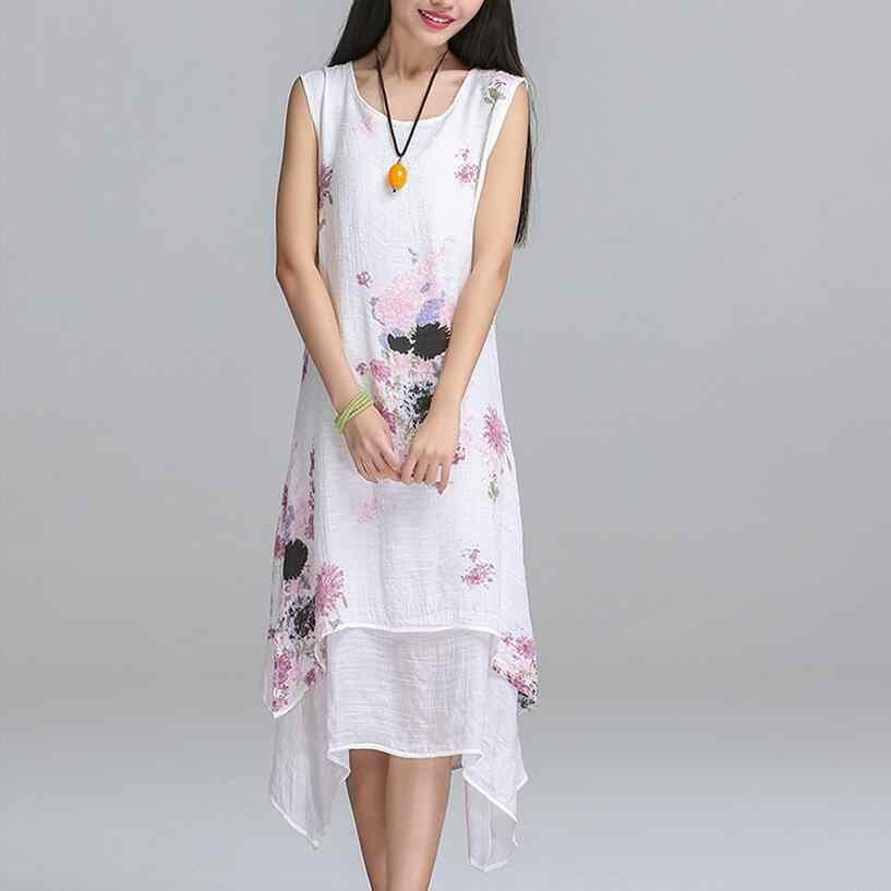 ... Saiqigui китайский стиль летнее платье без рукавов женское платье  повседневное хлопковое льняное платье с принтом с ... ddf5a53a28c
