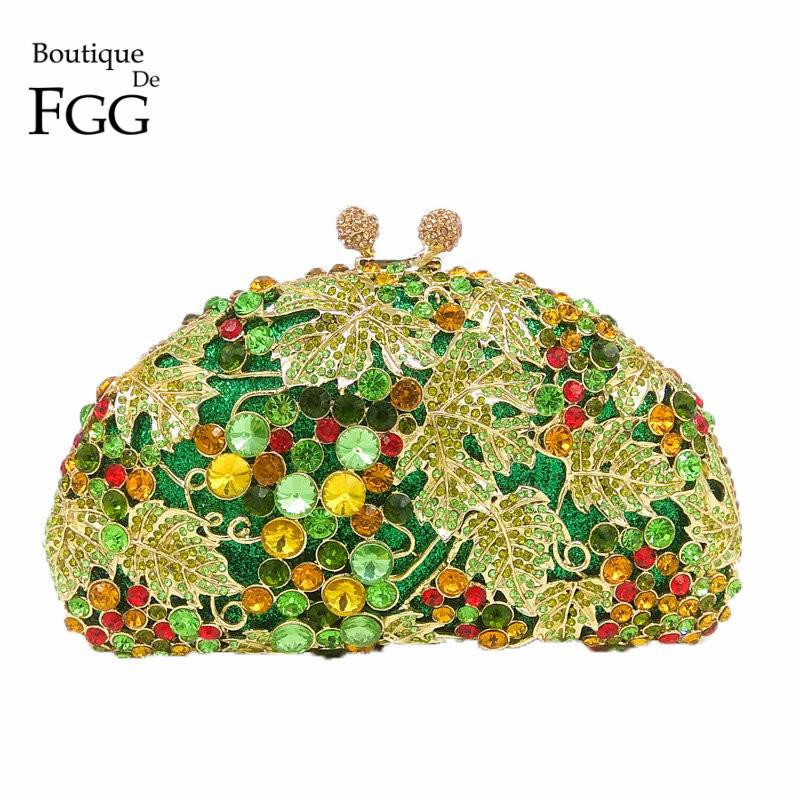 Boutique De FGG Green Diamond Women Grape Evening Purse Clutches Party Wedding Handbags Bridal Crystal Clutch Minaudiere Bag boutique de fgg hot pink fuchsia crystal diamond women evening purse minaudiere clutch bag bridal wedding clutches chain handbag