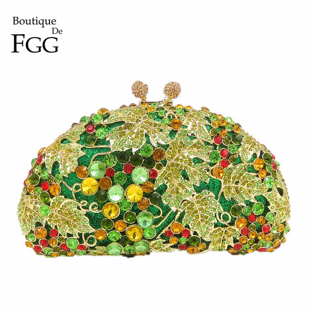 Boutique De Fgg Green Diamond Women G Evening Purse Clutches Party Wedding Handbags Bridal Crystal Clutch