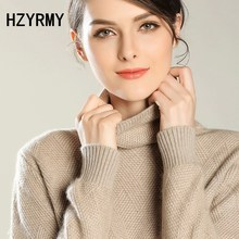 HZYRMY Autumn Winter New Women's Cashmere Sweater Fashion High-Neck knit  high quality Sweater Solid color pullover Short Shirt