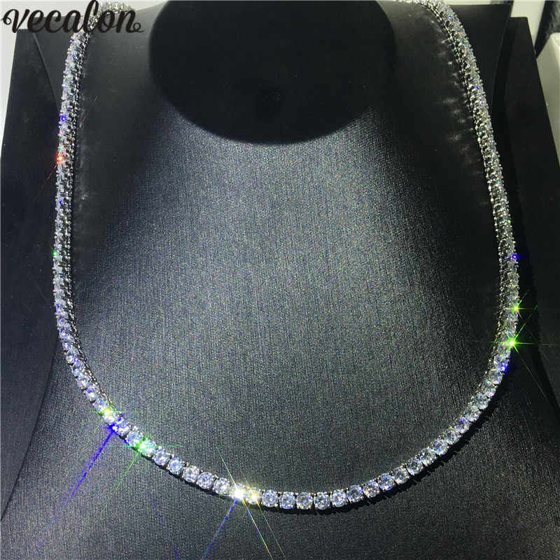 Vecalon Luxury Tennis Necklace White Gold Filled Full 4mm AAAA cz Party Wedding necklaces for Women men Hiphop Jewelry Gift