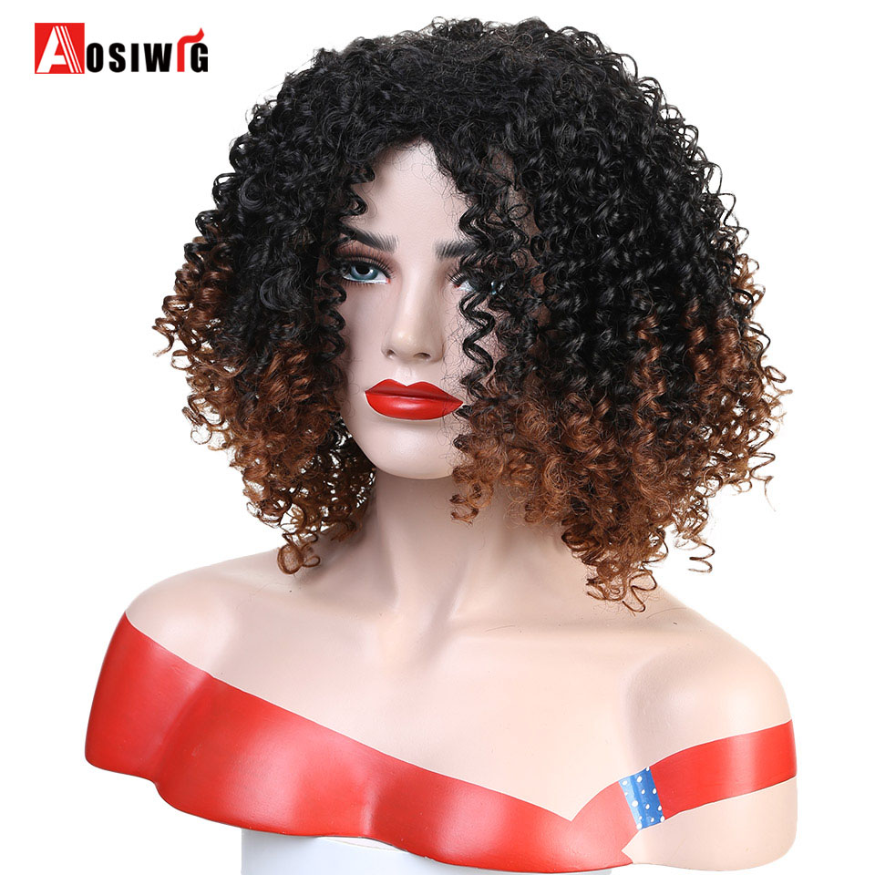 Aosiwig Afro Kinky Curly Wig Syntetisk kostume Cosplay Paryk Hårvarmebestandig for-9031