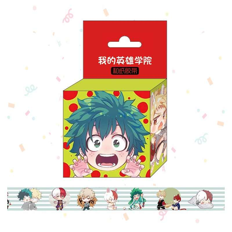 1.5 Cm * 5 M Nieuwe Anime Mijn Hero Academia Washi Tape Plakband Diy Scrapbooking Sticker Label Afplakband