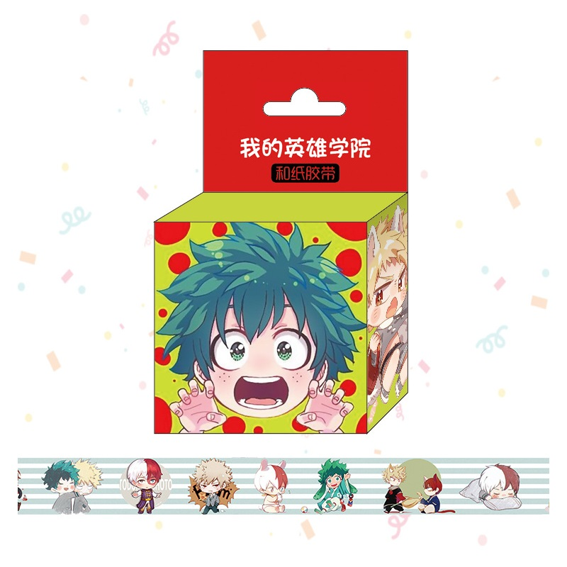 1.5cm*5m New Anime My Hero Academia Washi Tape Adhesive Tape DIY Scrapbooking Sticker Label Masking Tape