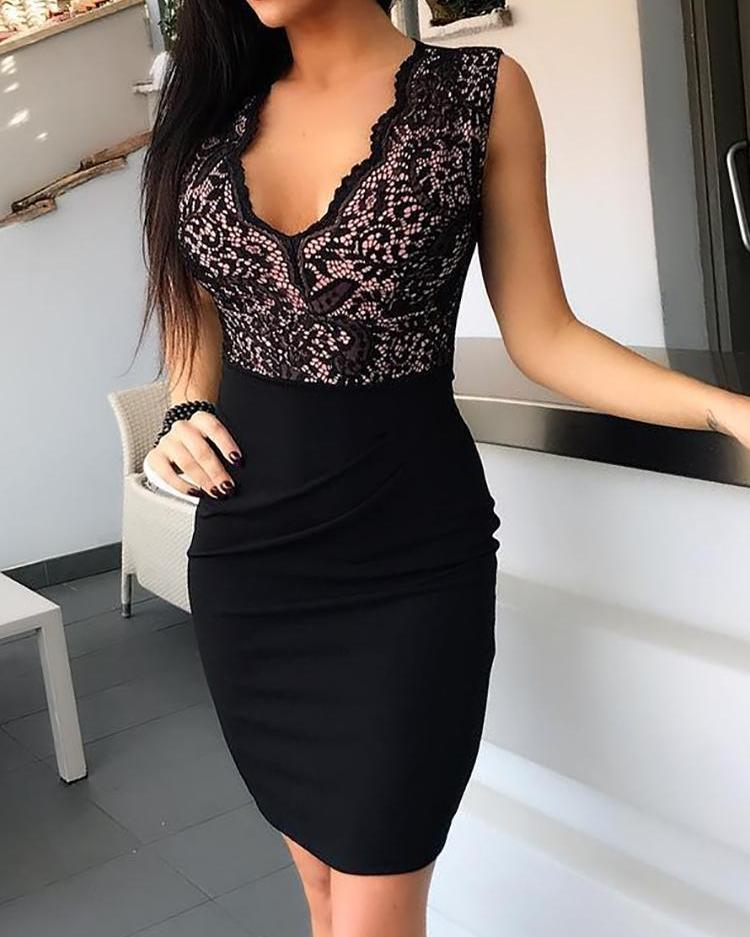 Black Sheath Sleeveless V-Neck Bodycon Mini Dress 2