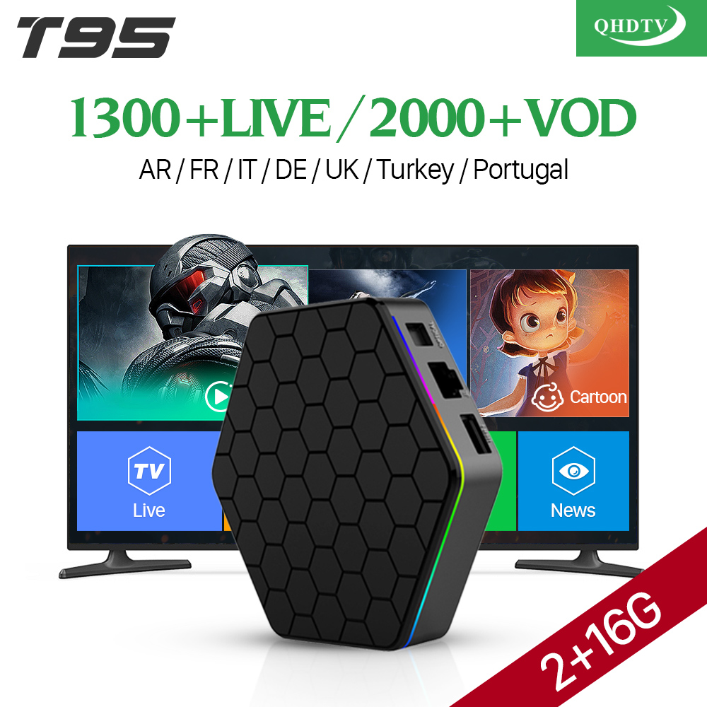 IPTV Europe Arabic 4K T95Z plus Android 7.1 Smart TV Box S912 Octa Core QHDTV Code Subscription French Netherlands UK IPTV Box купить